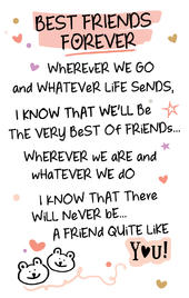 Best Friends Forever Inspired Words Keepsake Credit Card & Envelope