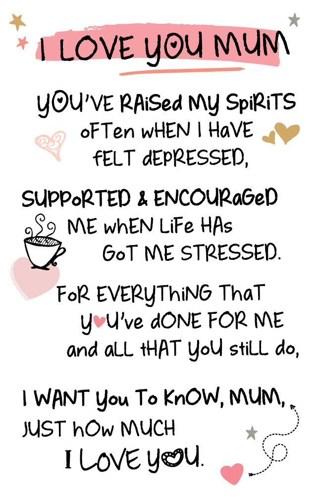 I Love You Mum Inspired Words Keepsake Credit Card
