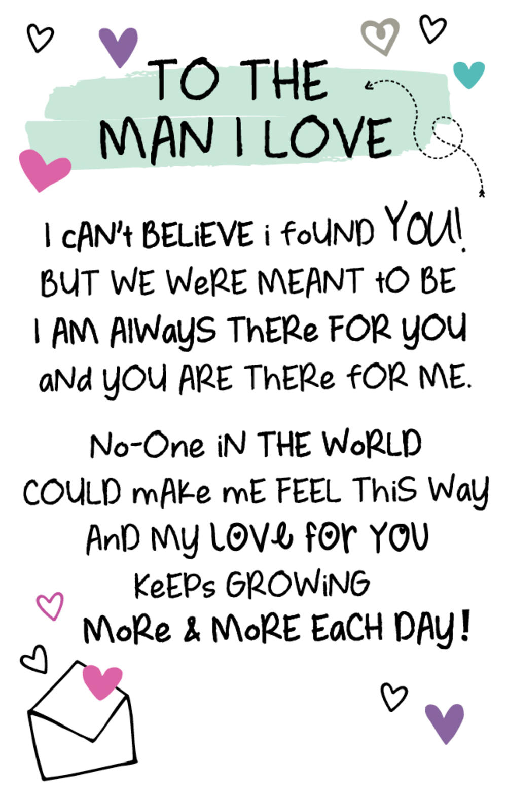 To The Man I Love Inspired Words Keepsake Credit Card & Envelope