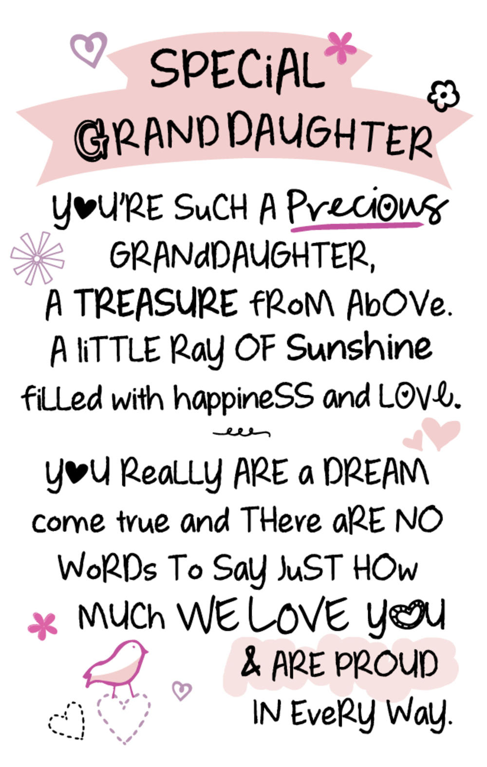 Special Granddaughter Inspired Words Keepsake Credit Card & Envelope