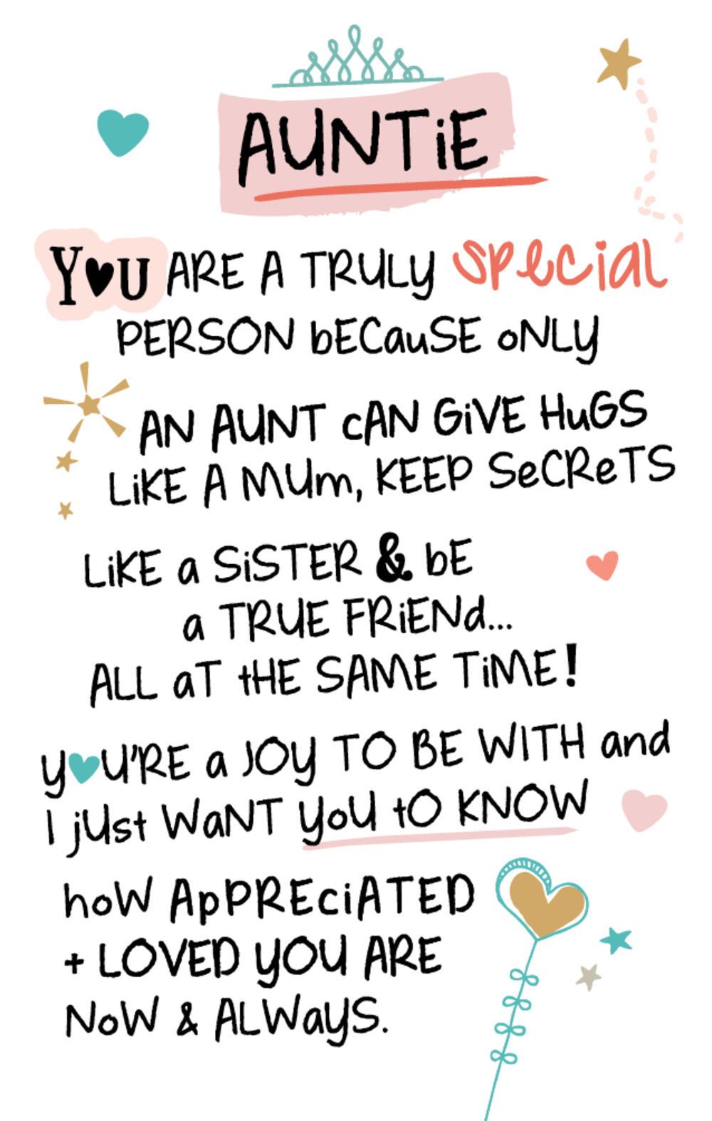 Special Auntie Inspired Words Keepsake Credit Card & Envelope