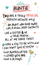 Special Auntie Inspired Words Keepsake Credit Card & Envelope