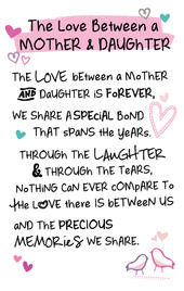 Mother & Daughter Love Inspired Words Keepsake Credit Card & Envelope