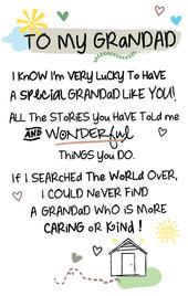 To My Grandad Inspired Words Keepsake Credit Card & Envelope