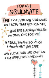 For My Soulmate Inspired Words Keepsake Credit Card & Envelope