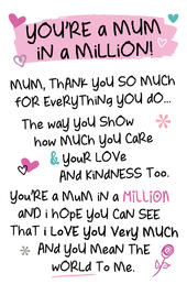 Mum In A Million Inspired Words Keepsake Credit Card & Envelope