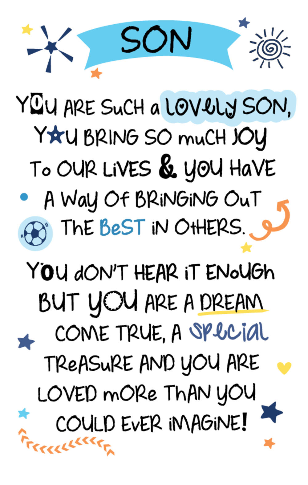 Lovely Son Inspired Words Keepsake Credit Card & Envelope