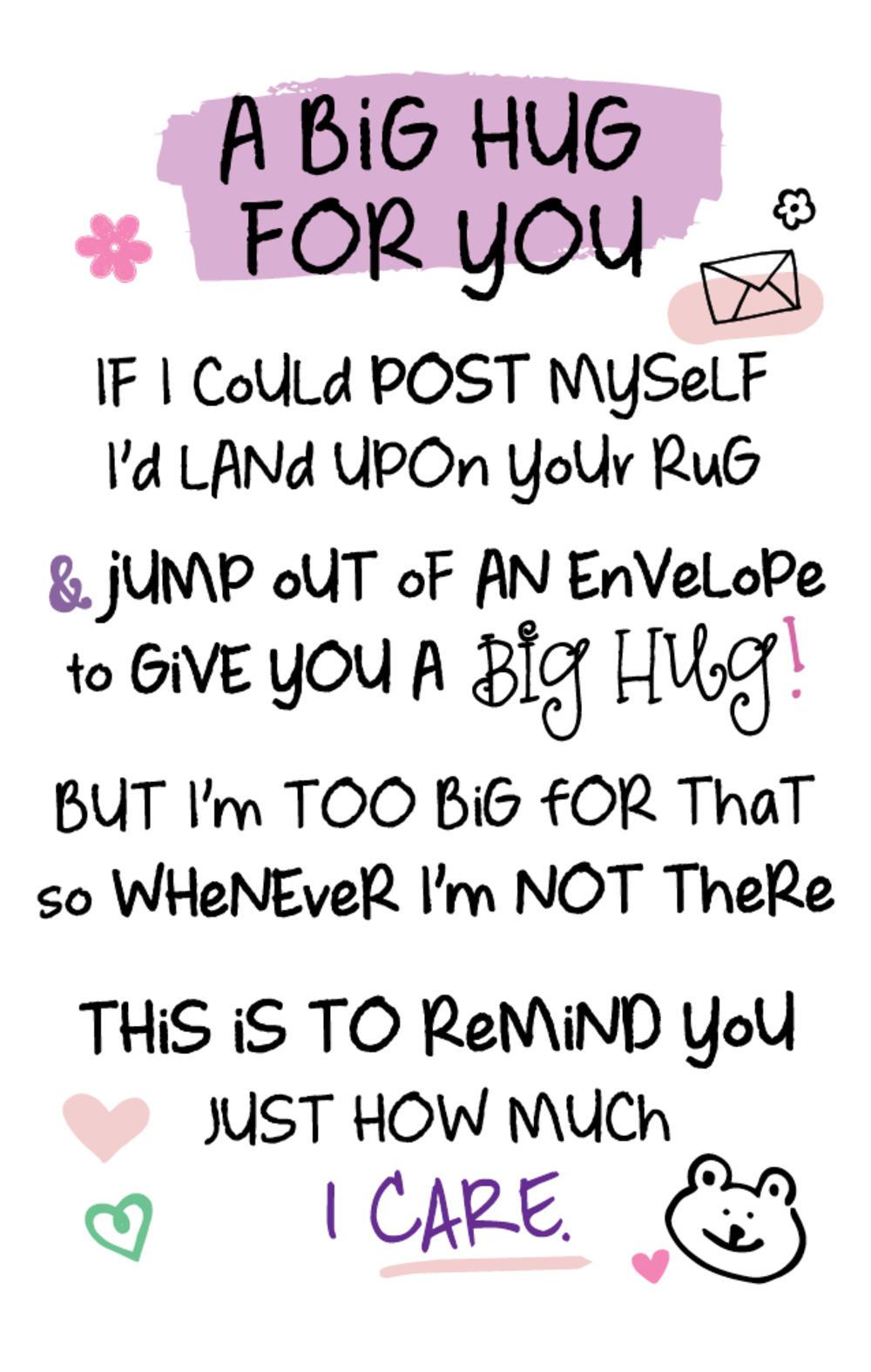 A Big Hug For You Inspired Words Keepsake Credit Card & Envelope