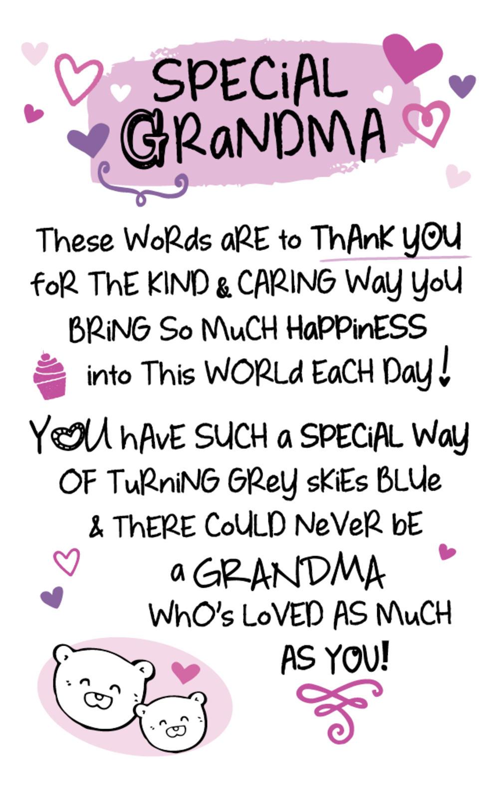 Special Grandma Inspired Words Keepsake Credit Card & Envelope