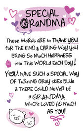 Special Grandma Inspired Words Keepsake Credit Card & Envelope