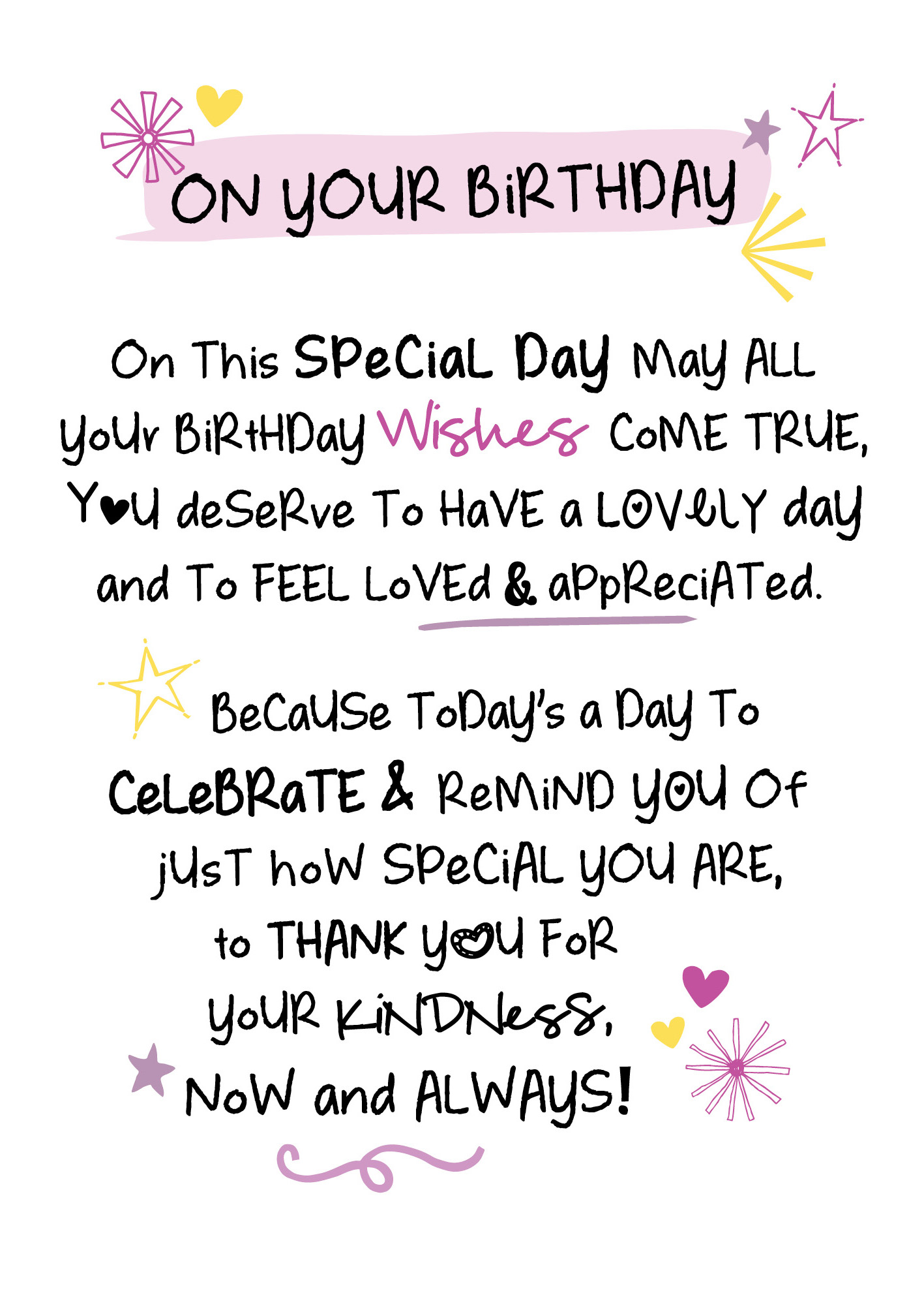 On Your Birthday Inspired Words Greeting Card Blank Inside