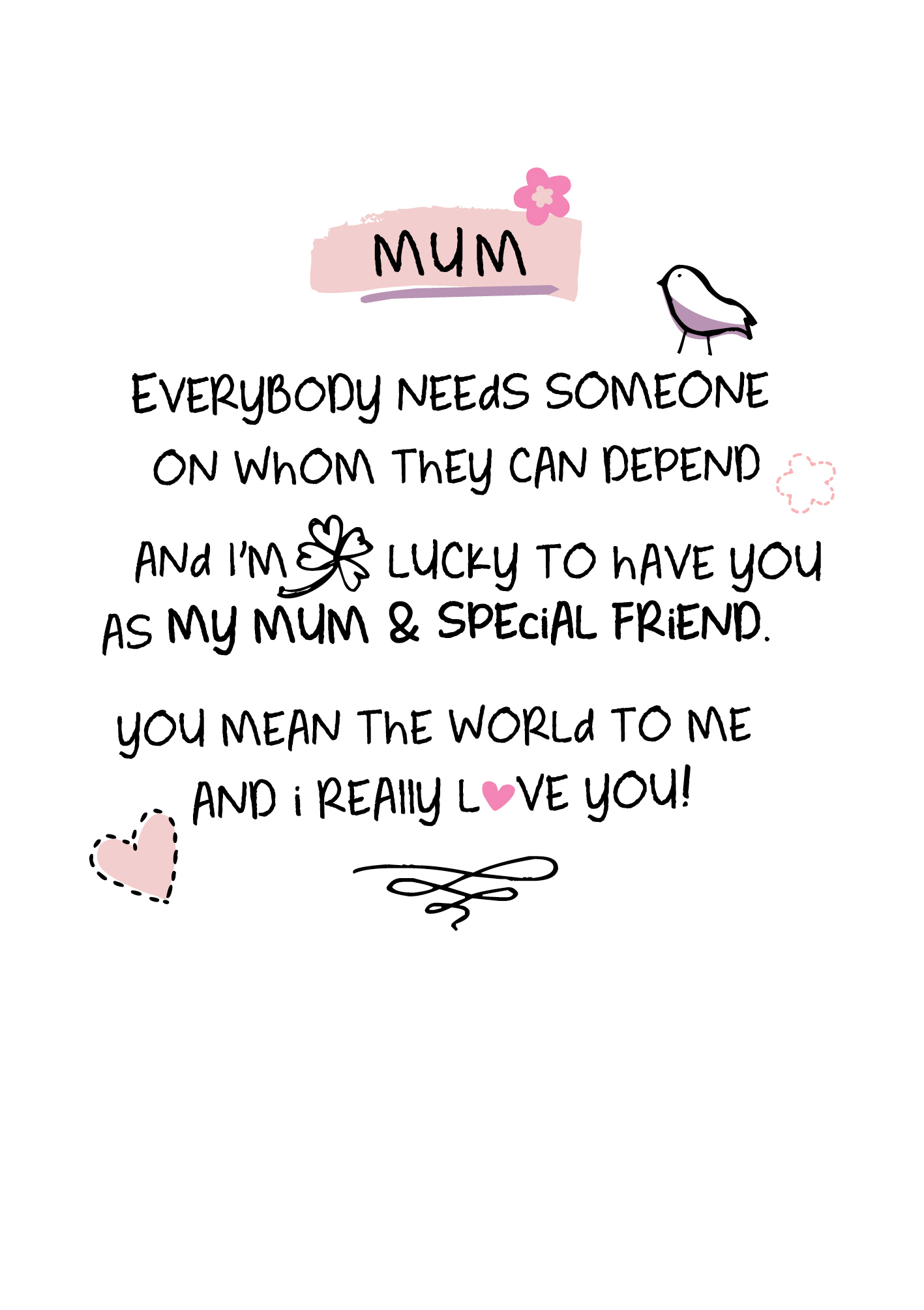 Mum I Love You Inspired Words Greeting Card Blank Inside Birthday