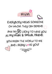 Mum I Love You Inspired Words Greeting Card Blank Inside