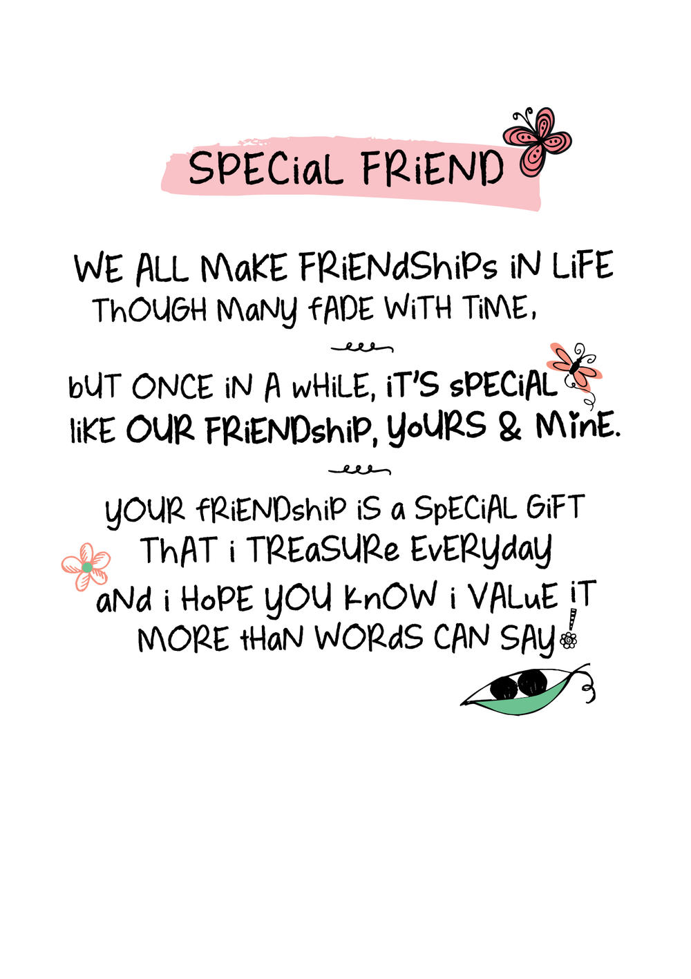 special friend inspired words greeting card blank inside