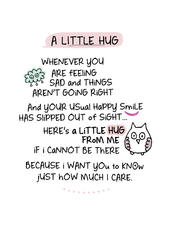 A Little Hug Inspired Words Greeting Card Blank Inside