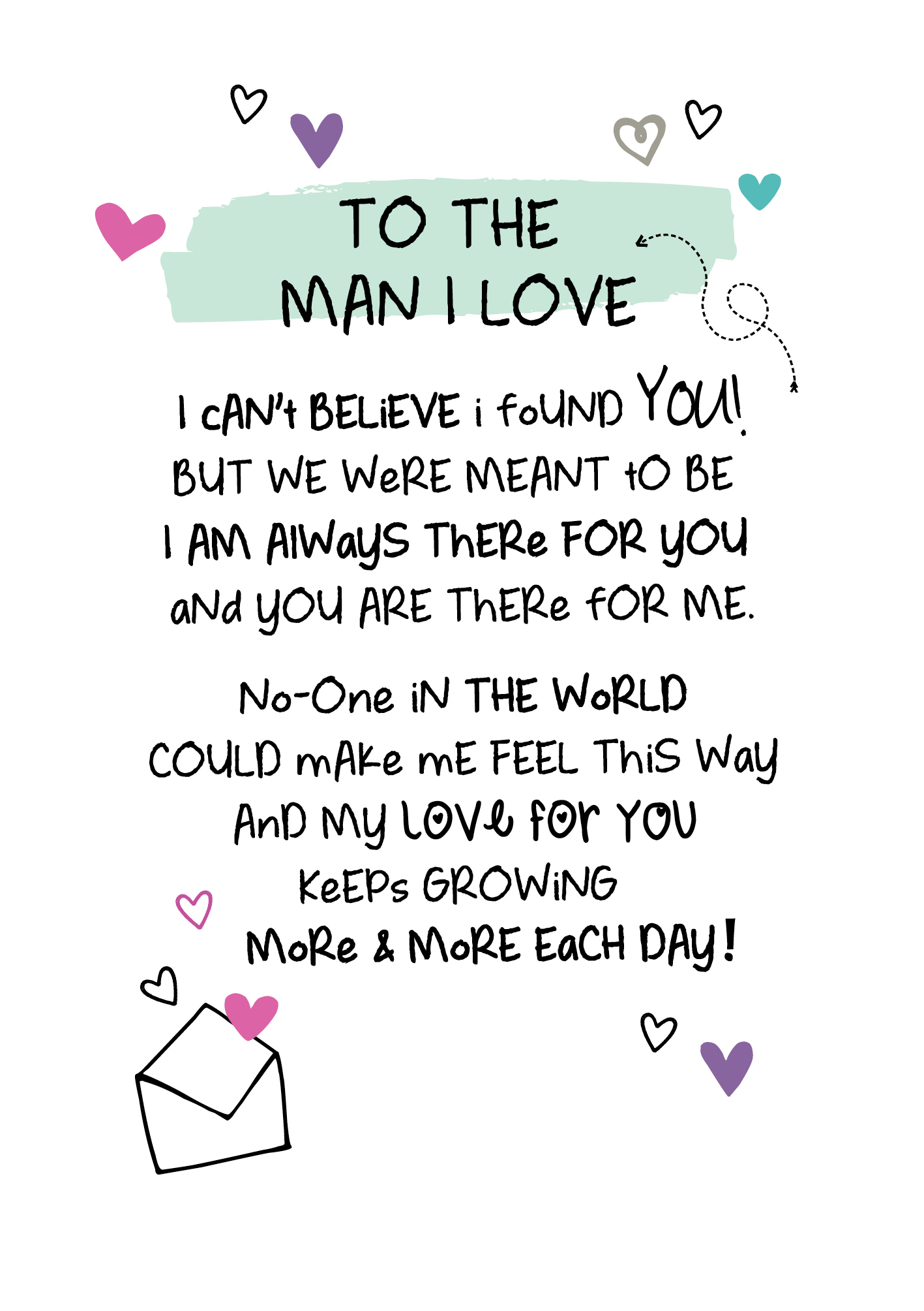 To The Man I Love Inspired Words Greeting Card Blank Inside
