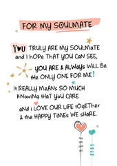For My Soulmate Inspired Words Greeting Card Blank Inside