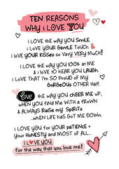 Ten Reasons Why I Love You Inspired Words Greeting Card Blank Inside