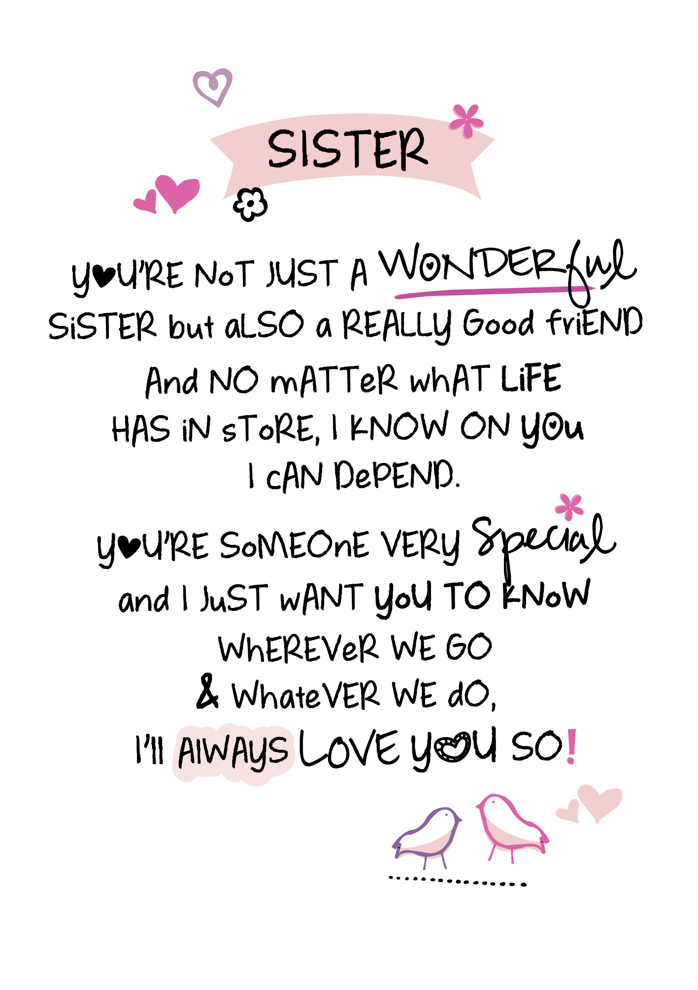 Wonderful Sister Inspired Words Greeting Card Blank Inside
