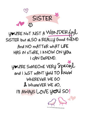 Wonderful Sister Inspired Words Greeting Card Blank Inside
