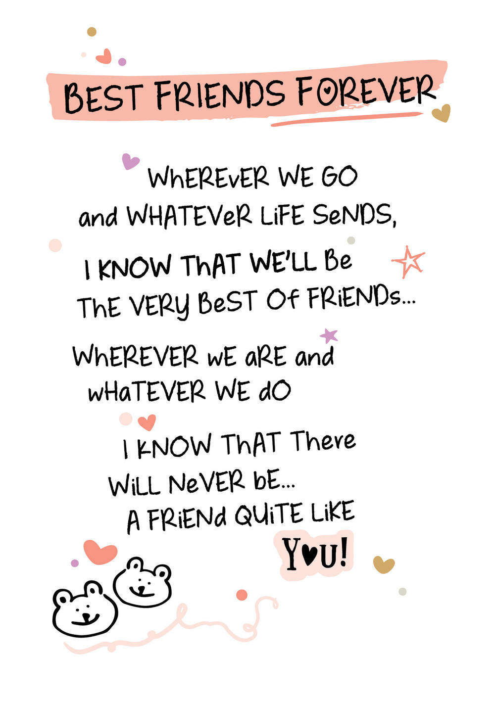 Best Friends Forever Inspired Words Greeting Card Blank ...