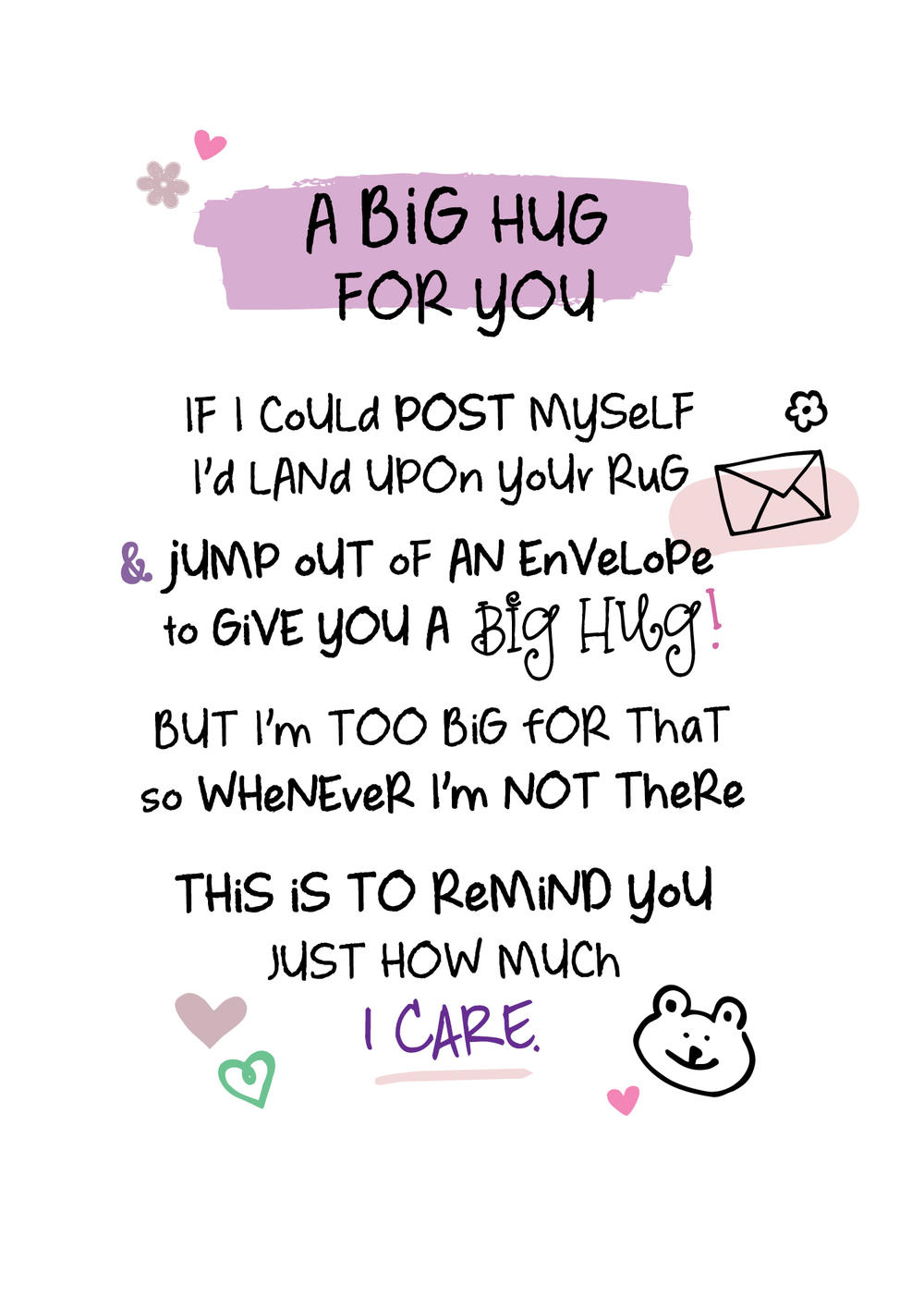 A Big Hug For You Inspired Words Greeting Card Blank Inside