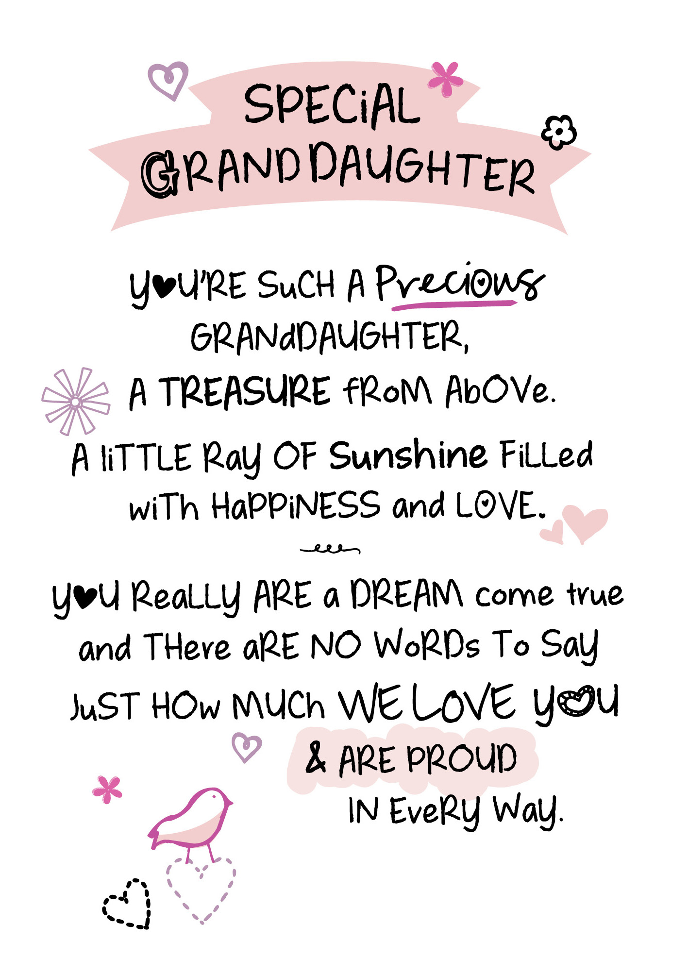 Special Granddaughter Inspired Words Greeting Card Blank Inside
