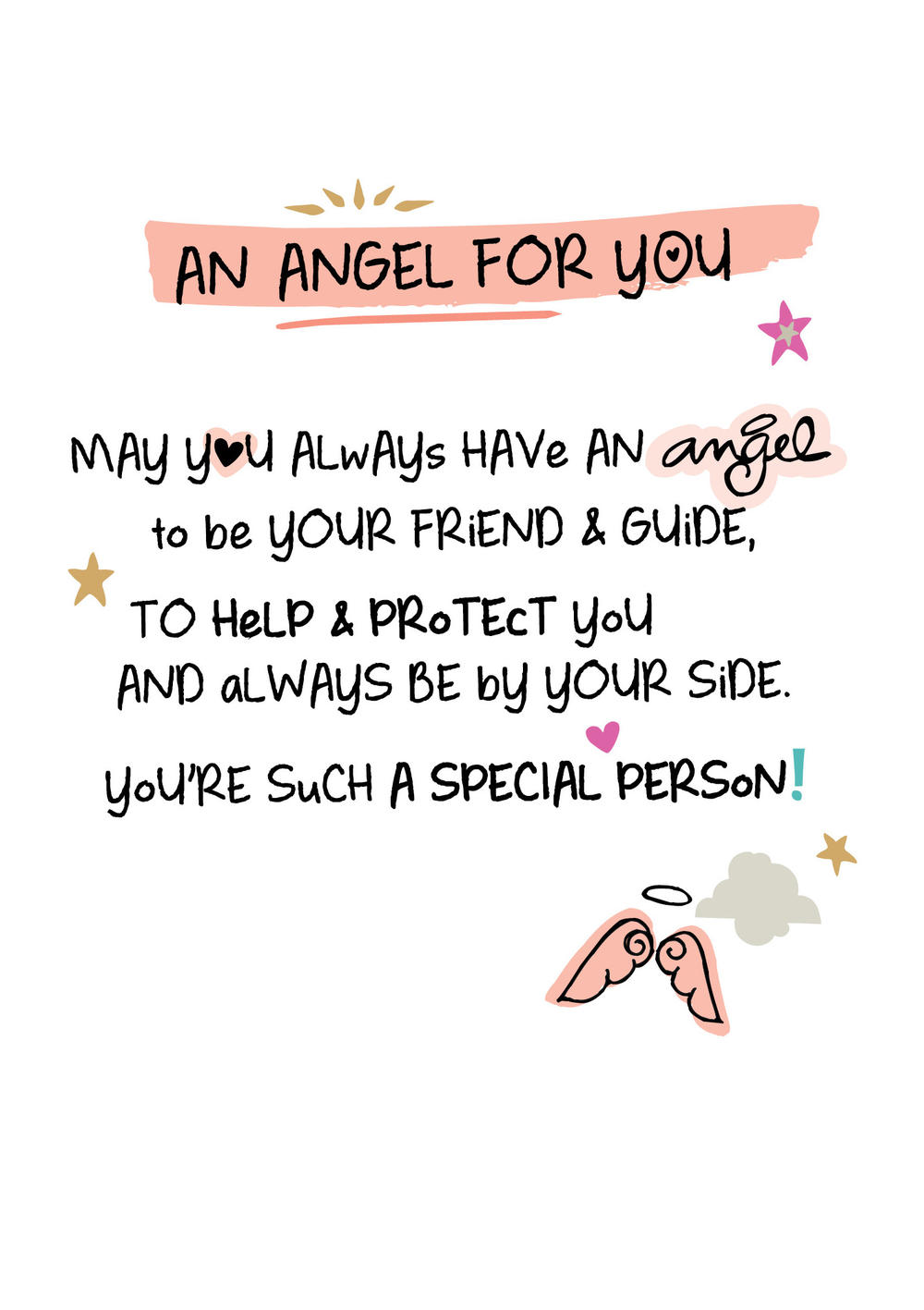 An Angel For You Inspired Words Greeting Card Blank Inside