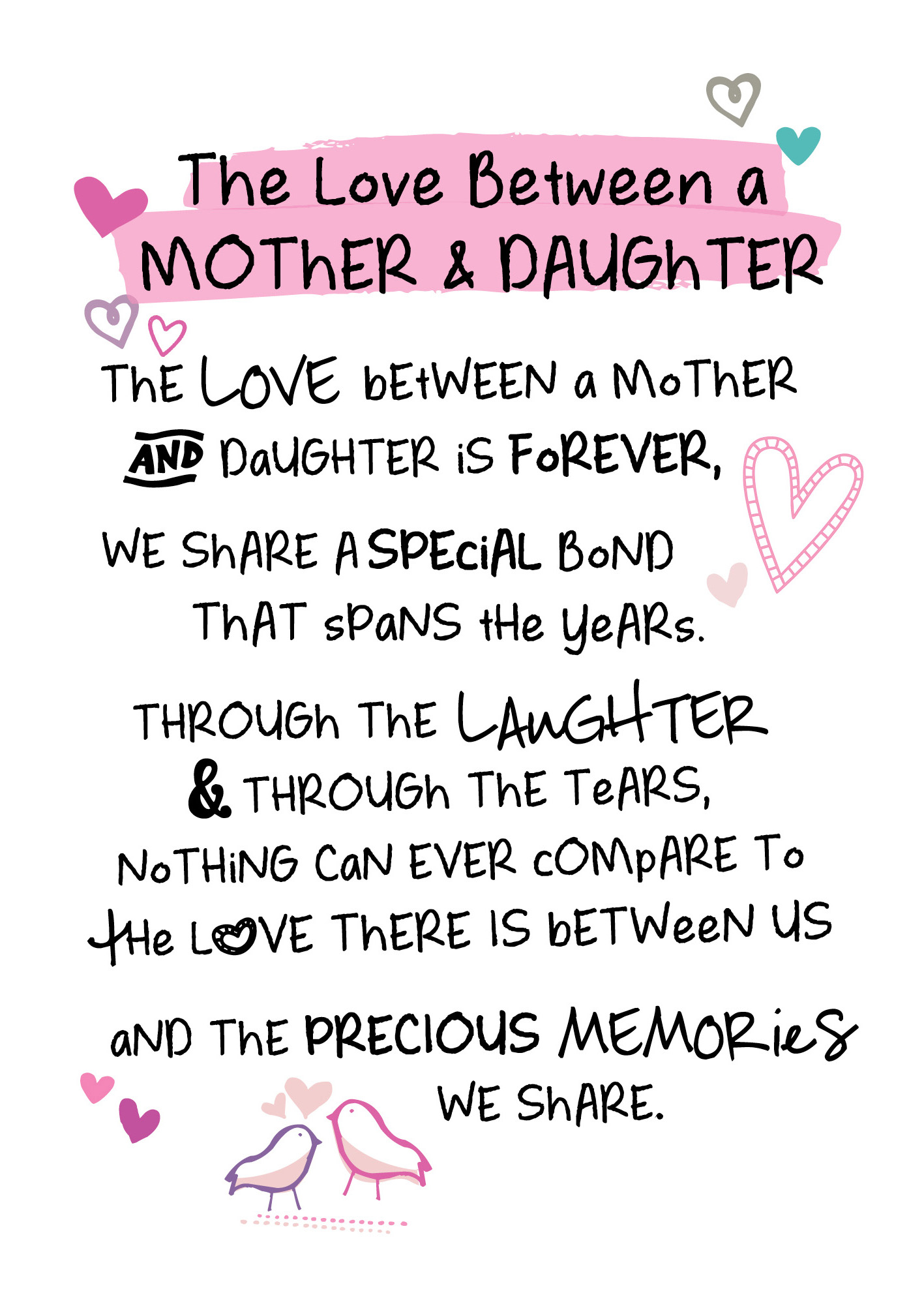Mother Daughter Love Inspired Words Greeting Card Blank Inside