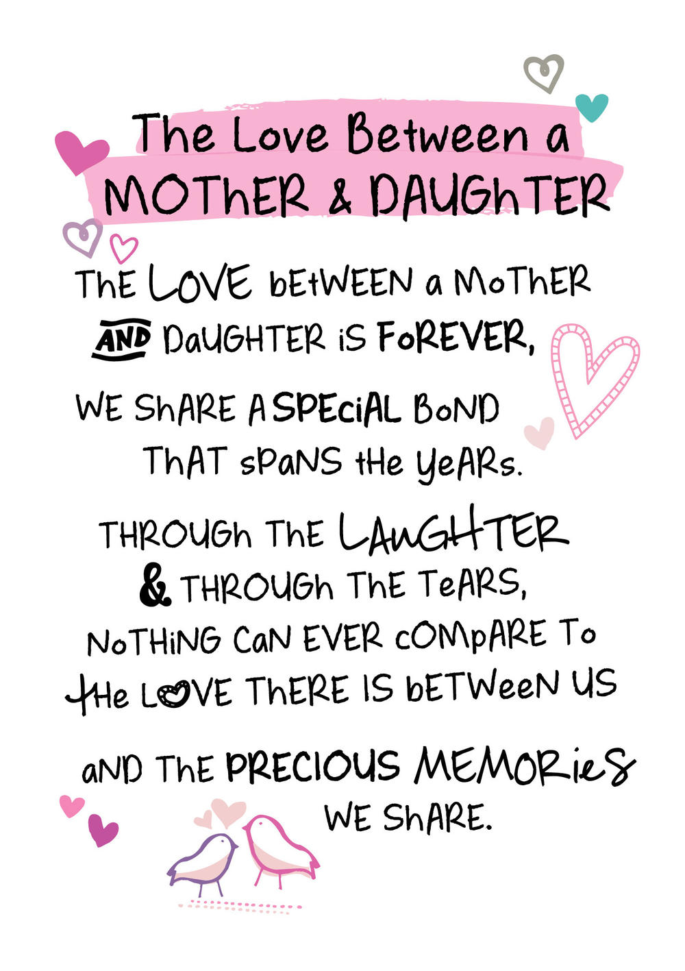 Mother & Daughter Love Inspired Words Greeting Card Blank Inside