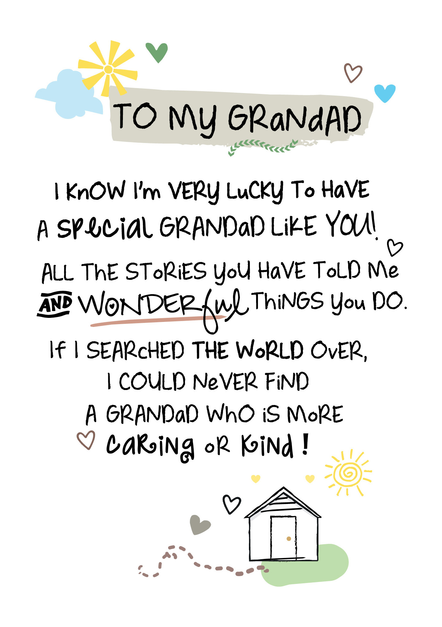 To My Grandad Inspired Words Greeting Card Blank Inside
