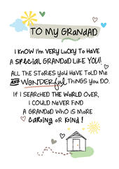 To My Grandad Inspired Words Greeting Card Blank Inside