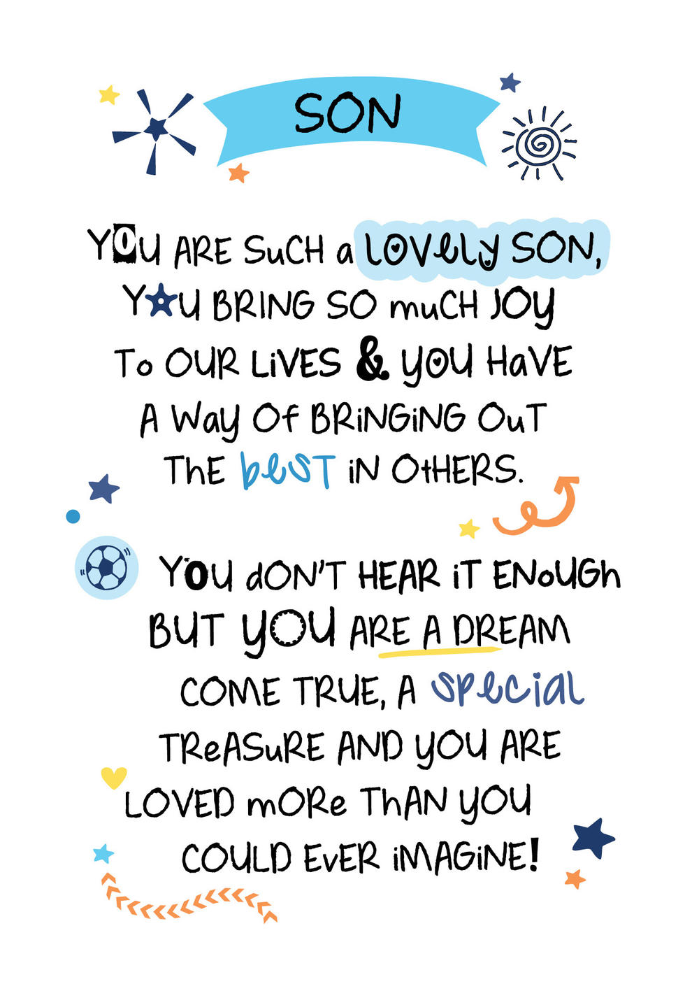 Lovely Son Inspired Words Greeting Card Blank Inside