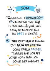 Lovely Son Inspired Words Greeting Card Blank Inside