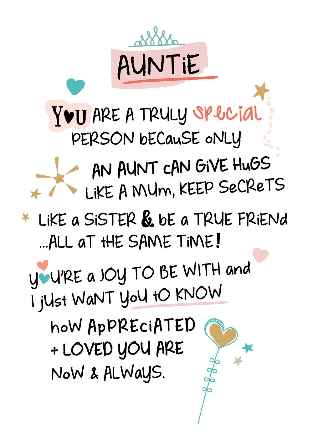 Special Auntie Inspired Words Greeting Card Blank Inside