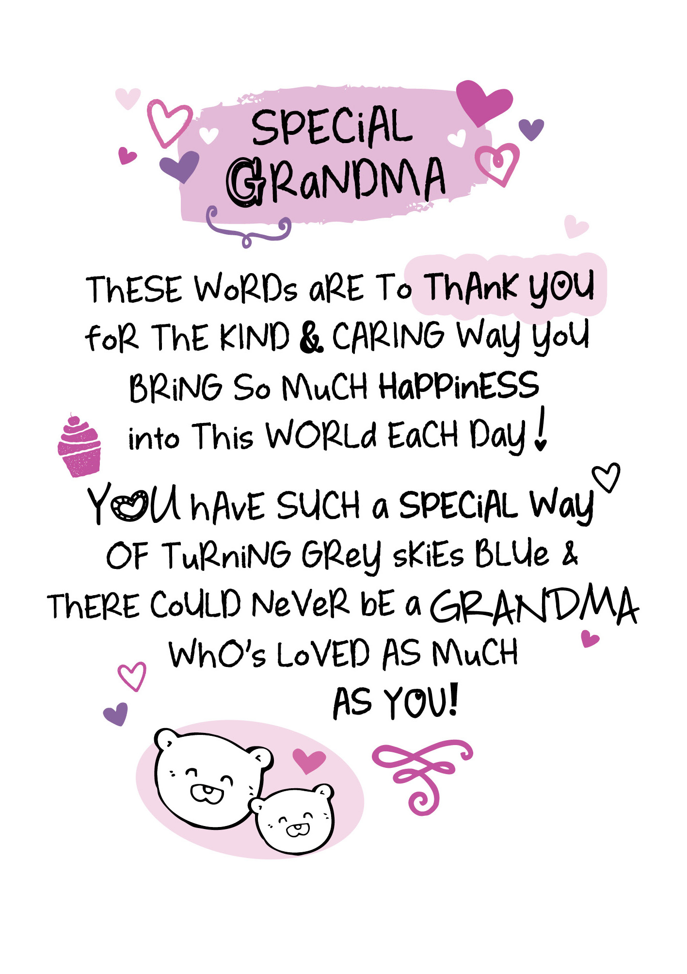 Special Grandma Inspired Words Greeting Card Blank Inside