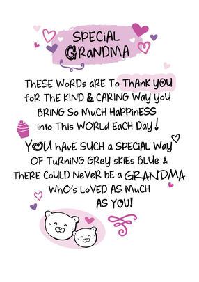 Special Grandma Inspired Words Greeting Card Blank Inside