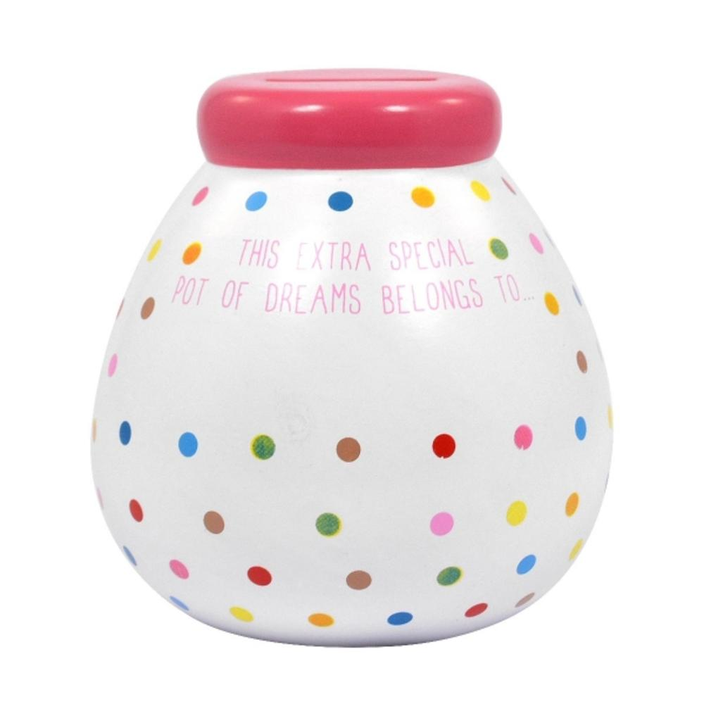 Personalised Polka Dot Pot of Dreams With Gold Letters