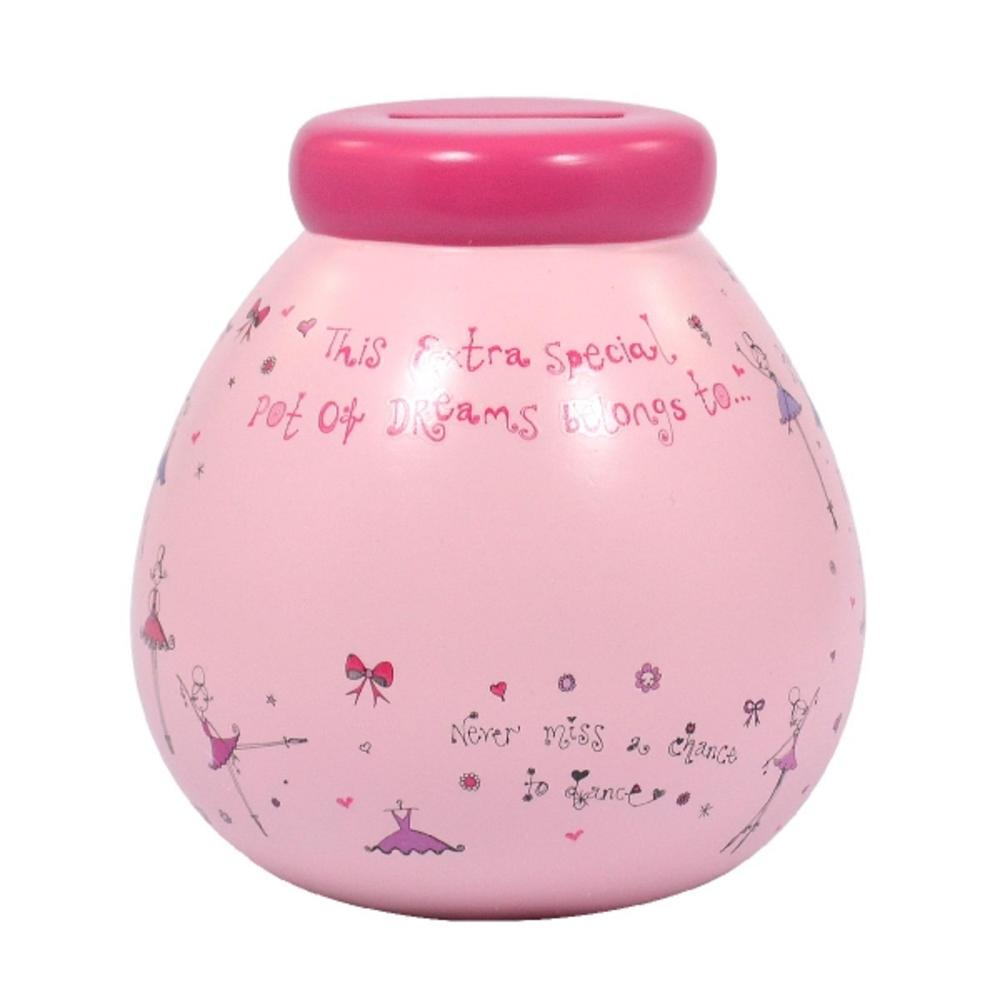 Personalised Ballet Pot of Dreams With Pink Letters Money Pot Gift