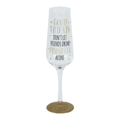 Signography Good Friends Sparkling Prosecco Flute Glass In Gift Box