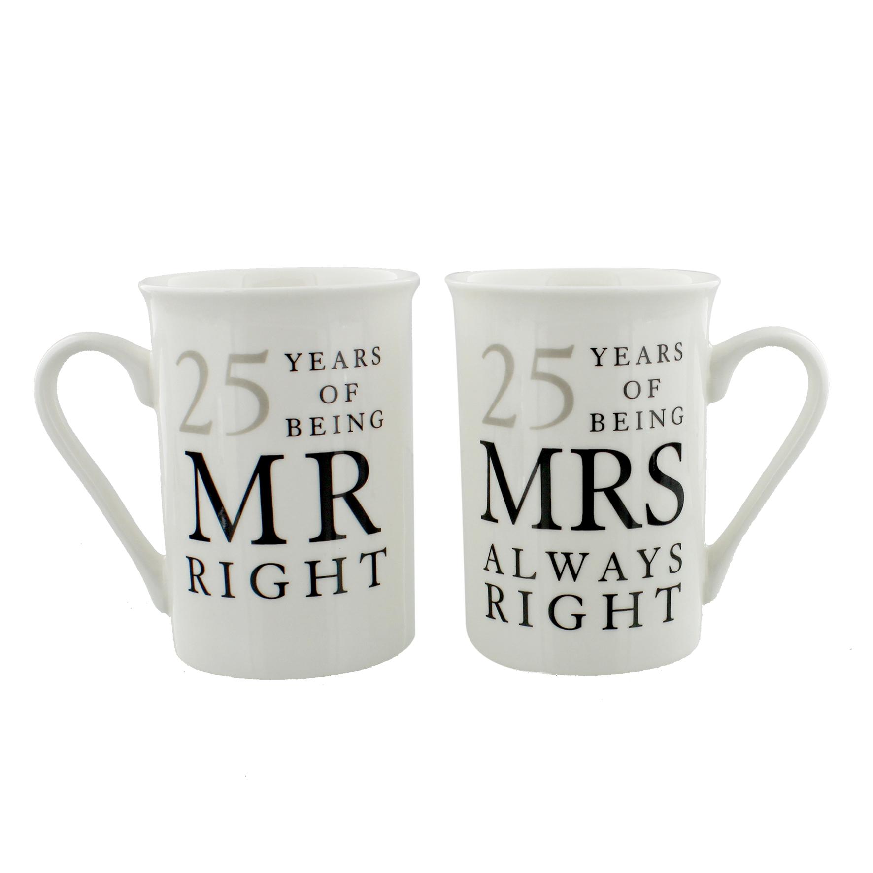 25 Year Wedding Anniversary Gift Ideas: 25 Years Mr & Mrs Mugs Amore Mug Set In A Gift Box