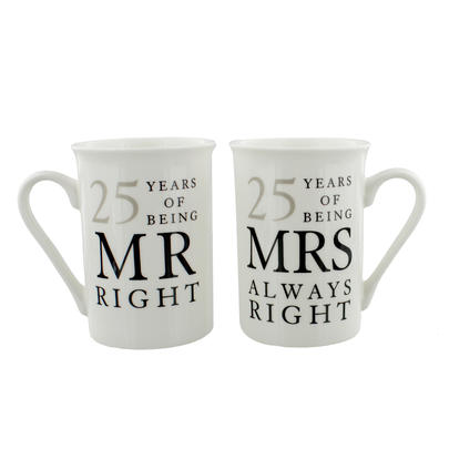 25 Years Mr & Mrs Mugs Amore Mug Set In A Gift Box