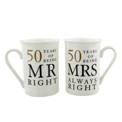50 Years Mr & Mrs Mugs Amore Mug Set In A Gift Box