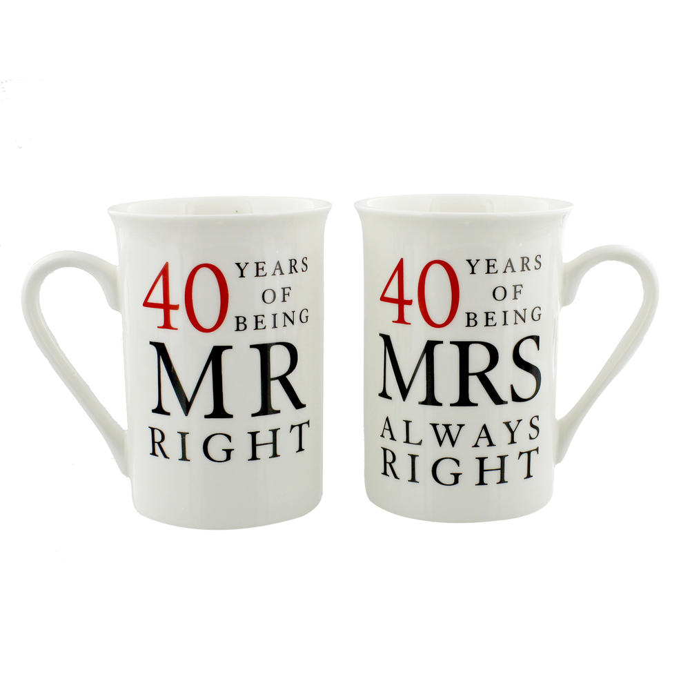 40 Years Mr & Mrs Mugs Amore Mug Set In A Gift Box