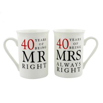 40 Years Mr & Mrs Mugs Amore Mug Set In A Gift Box