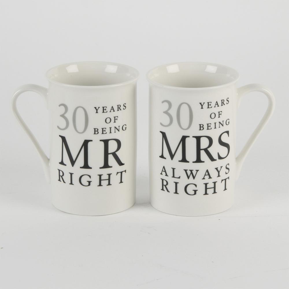 30 Years Mr & Mrs Mugs Amore Mug Set In A Gift Box