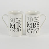 30 Years Mr & Mrs Mugs Amore Mug Set In A Gift Box