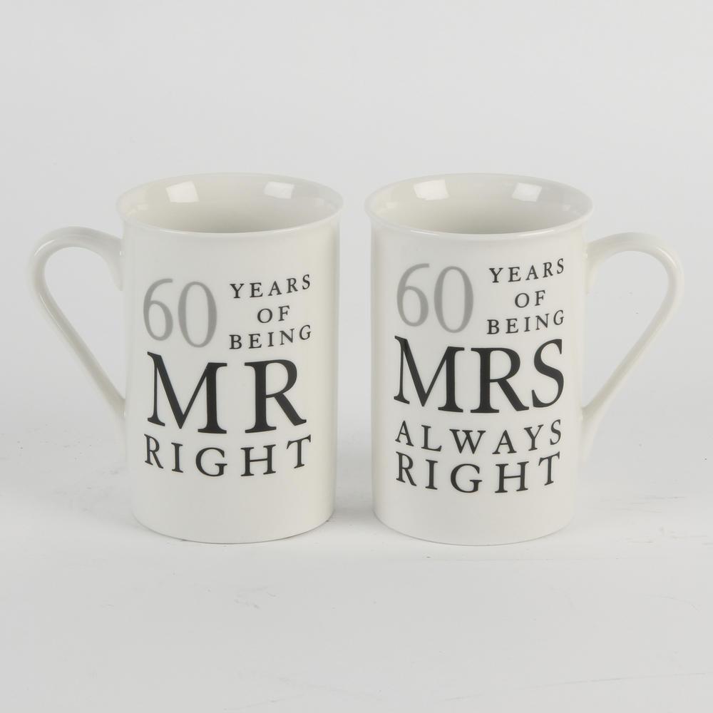 60 Years Mr & Mrs Mugs Amore Mug Set In A Gift Box
