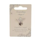 Guardian Angel Silver Coloured Angel Pin With Gem Stone