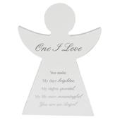 One I Love Guardian Angel Block Standing Wooden Plaque